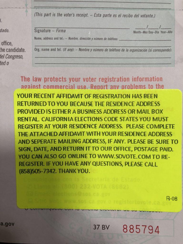 Voting Affidavit